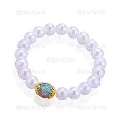 pulsera de perla blanca con piedra especial mezcla acero dorado inoxidable para mujer -SSBTG924839