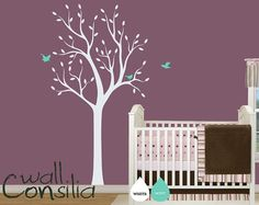 """Baby Nursery Wall Decals - White Tree Wall Decal - Tree Wall Decals - Large: approx 75"""" x 38"""" - W013"""