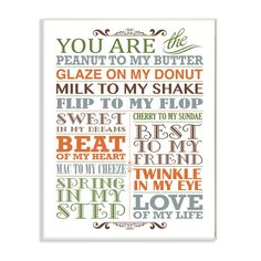 Stupell You Are Peanut To My Butter Typography Art Wall Plaque