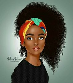 Balanced Color, nice tone and excellent art. Art Black Love, Black Girl Art, My Black Is Beautiful, Art Girl, Black Girls, Black Women, African American Art, African Art, Black Girl Cartoon