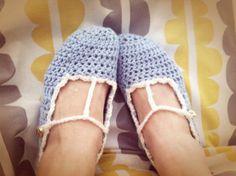 Hand crocheted t strap slipper