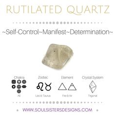 Metaphysical Healing Properties of Rutilated Quartz, including associated Chakra, Zodiac and Element, along with Crystal System/Lattice to assist you in setting up a Crystal Grid. Go to https:/wwwsoulsistersdesigns.com to learn more!