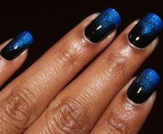 Black and blue gradient nails