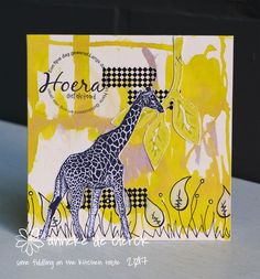 A quick and easy card today.   I used a background I found in my stash and the giraffe is a leftover from a project I did earlier this ye...