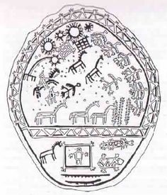 """Altai Turk drum shows very complex Tengrism symbolism. A dividing line seems to separate the middle world from the upper. The doll is inside a house with """"chicken feet"""" in the middle world, a horse outside. Turtle, fish probably=the water spirits. In the upper world at the top is the sun and moon and Venuses, constellations. 7 white birds, and a single black bird with a human head(?). There are also 3 white horses and 3 black horses, and 3 apparent turge trees."""