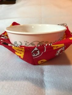 This hot bowl holder is great for heating food in the microwave.  100% cotton keeps sparks from flying.  $6 for one or 2 for $10. Contact me at www.marilynarnolddesigns.com