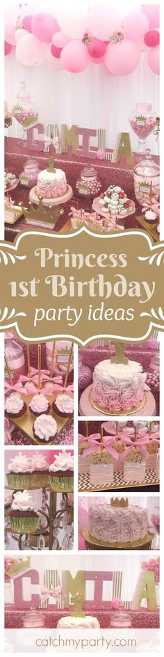 Be enchanted by this gorgeous Princess themed 1st birthday party! The dessert table is so beautiful!! See more party ideas and share yours at CatchMyParty.com