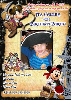 Mickey Mouse Minnie Pirate Birthday Party Photo Invitation invitations-super cute. $15.00, via Etsy.