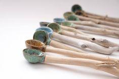 Handmade Ceramic / Pottery & Driftwood Spoons - Nature Inspired Home Decor/Wabi Sabi Handmade in Canada/Utensils/Pottery Dinnerware Ceramic Spoons, Ceramic Tableware, Ceramic Pottery, Pottery Art, Ceramic Art, Wabi Sabi, Handmade Home Decor, Handmade Pottery, Handmade Ceramic