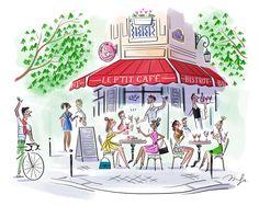 Simple Illustration, Art Et Illustration, Illustrations, Paris Drawing, Paris Art, Cute Disney, Art Studios, Cute Drawings, Art Sketches