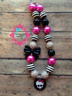 Monster High Necklace-Chunky Bubblegum Necklace-Monster High Inspired Chunky Necklace-Photo Prop