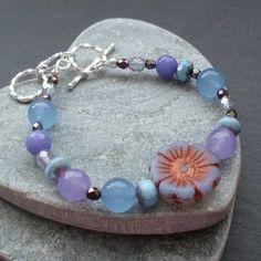 Czech Glass Flower Beads and Quartz Lilac and Blue Bracelet £12.00