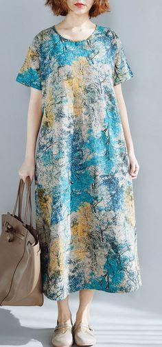 757252832 Italian blue prints linen Robes short sleeve Vestidos De Lino summer Dresses
