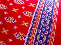 Cotton Ikat Print Indian Fabric Red Blue White Yellow by RaajMa