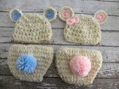 Twin boy/girl bear hats and diaper covers in cream and pink and cream and blue. Newborn baby photo prop bear hats. on Etsy, $65.00