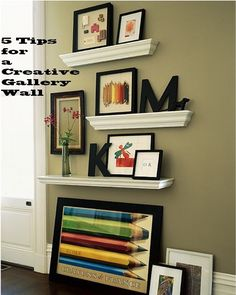 1. Mount ledges for a contemporary look. 2. Vary frames in shapes, sizes and  finishes. 3. Stagger and layer items for depth. 4. Mix photos, paintings, and illustrations 5. Add small objects for interest. (taken from Pottery Barn magazine)