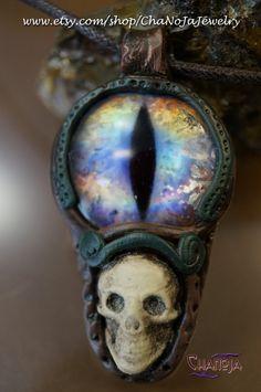 Devil's Eye 4 Pendant - SALE Bargain-rainbow shiny glass eye polymer clay skull gothic OOAK steampunk fantasy mens jewelry punk warrior male by ChaNoJaJewelry