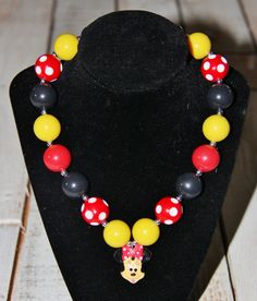 Minnie Mouse Bubblegum Necklace $18.99 www.yeoldparty.com