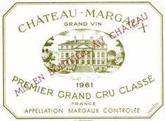 French Wine Label Chateau Margaux 1961