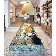 Maison Dandoy Place Stephanie is  open! - Sweet interior by Base Design with our XXL tiles grigio venato   - pix ©LydieNesvadba
