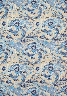 IMPERIAL DRAGON, Blue and Tan, F914236, Collection Imperial Garden from Thibaut