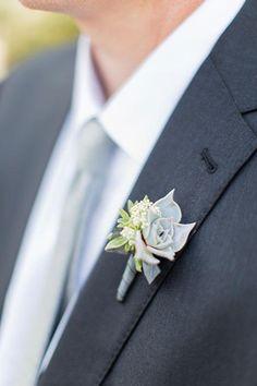 A succulent boutonniere | Brides.com
