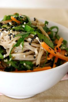 Spinach carrot and ginger soba noodle bowl