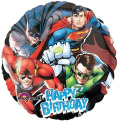 2 Justice League Happy Birthday Balloons Foil Mylar by Andabloshop