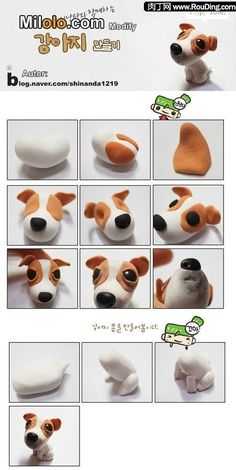 Fimo Polymer Clay Puppy Dog Step-by-Step Tutorial Polymer Clay Animals, Fimo Clay, Polymer Clay Charms, Polymer Clay Projects, Polymer Clay Creations, Clay Crafts, Decors Pate A Sucre, Fondant Animals, Fondant Dog