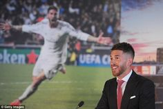 Sergio Ramos speaks to the press after signing a new five-year contract extension at Real Madrid that will keep him at the club until 2020
