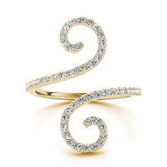 .52ctw Swirl Round Diamond Fashion Ring in 14k Yellow Gold