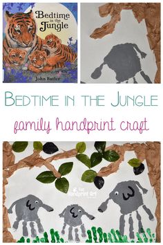 Bedtime in the Jungle craft for families A fun jungle handprint craft combined with the book Bedtime in the Jungle, perfect for preschool and kindergarten kids when teaching a jungle themed unit! Jungle Theme Crafts, Jungle Theme Activities, Preschool Jungle, Jungle Theme Classroom, Nursery Activities, Preschool Activities, Safari Crafts, Animal Activities, Classroom Themes