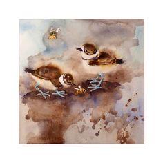 Art Watercolor Painting Print Bird 2 Killdeer Babies by LaBerge