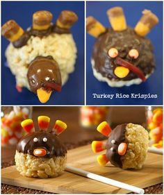 Lots of cute, no bake, Thanksgiving treat ideas including these Turkey Rice Krispies