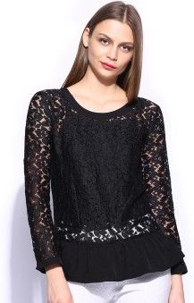 Mast & Harbour Casual Full Sleeve Solid Women's Top