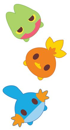 Treecko, Torchic, and Mudkip