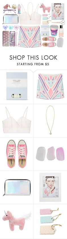 """""""Pastel hues"""" by sleepy-seas ❤ liked on Polyvore featuring Laura Ashley, Irene Neuwirth, Converse, Forever 21, Monki, BOBBY, Warehouse, Cotton Candy and Marc Jacobs"""