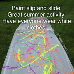 More fun with paint! Since we have that tarp still. We can do red white and blue paint.