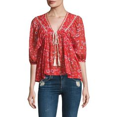 Free People Never a Dull Moment Peasant Blouse ($98) ❤ liked on Polyvore featuring tops, blouses, apparel & accessories, 3/4 sleeve blouse, tie blouse, red blouse, tie front top and red floral blouse