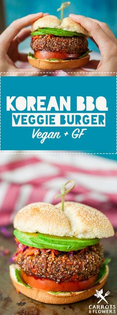 INCREDIBLE Korean BBQ Veggie Burgers Sweet savory and just a bit spicy Vegan Glutenfree Perfect healthy recipe for lunch or dinner Veggie Recipes, Asian Recipes, Vegetarian Recipes, Cooking Recipes, Healthy Recipes, Filipino Recipes, Burger Recipes, Vegetarian Burgers, Tasty Snacks