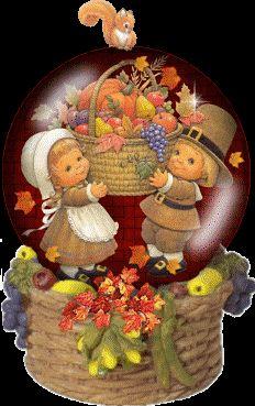 Thanksgiving Snow Globe Clip Art | Animated Thanksgiving Snowglobe Graphics Code | Animated Thanksgiving ...