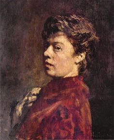 Suze Robertson (Dutch painter) 1855 - 1922 Zelfportret met Rode Jurk (Self Portrait with Red Dress), 1889-90 oil on panel 50 x 40 cm. Gemeentemuseum, The Hague, The Netherlands