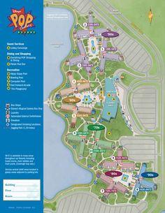 Pop Century Resort Map Walt Disney World.  All WDW maps from KTP.