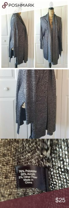 🍁LANE BRYANT gray long open front cardigan LANE BRYANT black and silver woven open front long cardigan size 26/28. Super soft and so gorgeous! Lane Bryant Sweaters Cardigans