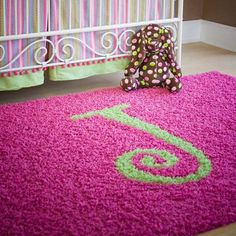 Love this monogram shag rug for nurseries