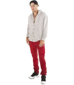 We can't get enough of celebrity favorite Robin's Jeans and their unique take on denim. These bright red waxed jeans are so unexpected, yet so fresh. We love to pair them with a slouchy cardigan. Add a snapback and some long necklaces for dope style!    By Robin's Jeans  Made in USA  Waxed Coating  Signature Eagle on Back    Model Info: Height: 6'3"