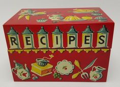 "SOLD Sorry you missed it. Vintage Tin Litho Stylecraft Recipe box 3 x 5"" index card Recipes Kitchen Metal"