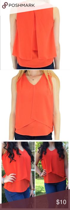 Orange Sleeveless Gigi Blouse Trapeze blouse that is undoubtedly a statement piece and flattering for every body shape. This top captures sophistication and a hint of cool casualness.  100% Polyester Relished Tops