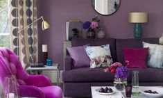 Love purple? Give your living room a pleasing purple update. From lilac and dusky purple to claret and plum, a purple living room is a great mood booster