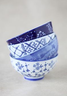 Lush Blue Ceramic Bowl Set 32.99 at shopruche.com. Featuring a variety of designs in cornflower blue, this set of four white ceramic bowls is perfect for serving side dishes and condiments, or keeping trinkets organized. These darling bowls come in a chocolate brown box for easy storage.